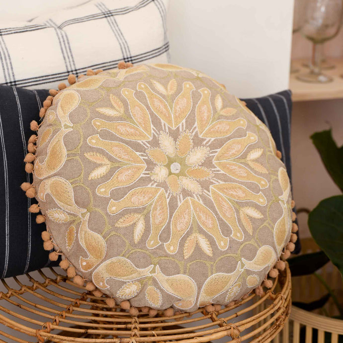 Round Nature Cotton Cushion