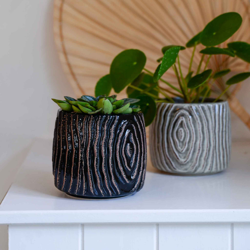Atena Black Textured Flowerpot in Stoneware