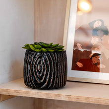 Load image into Gallery viewer, Atena Black Textured Flowerpot in Stoneware
