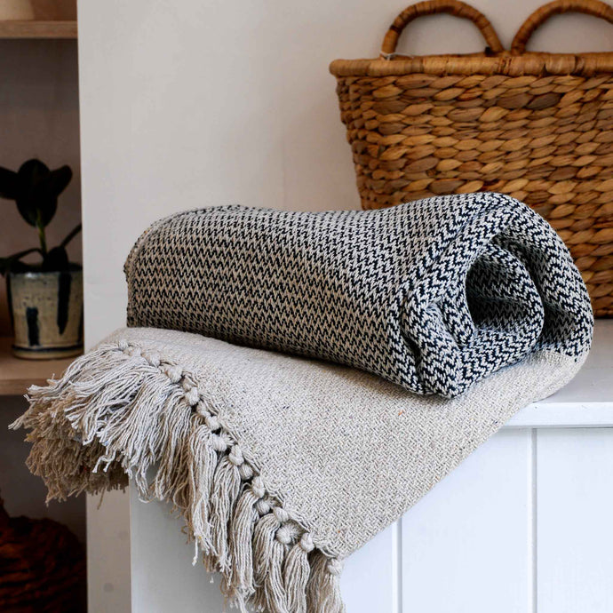 Woven Matt Grey Recycled Cotton Throw