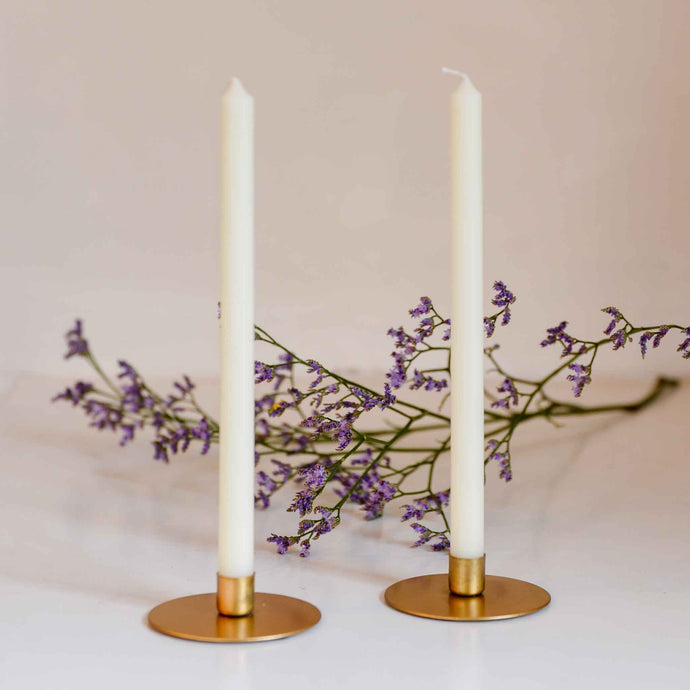 Round Mini Gold Taper Candle Holder