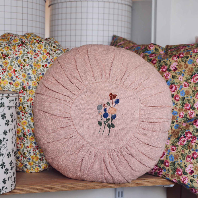 Round Guowei Cushion in Rose Cotton with Embroidery