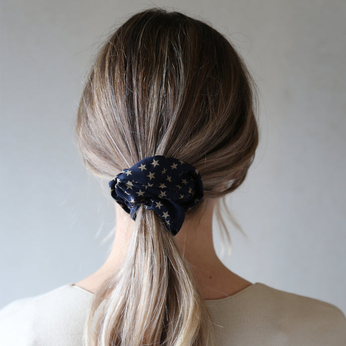 Navy and Stone Solstice Print Scrunchie