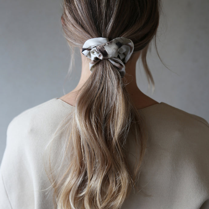 Neutral Watercolour Tideline Print Scrunchie