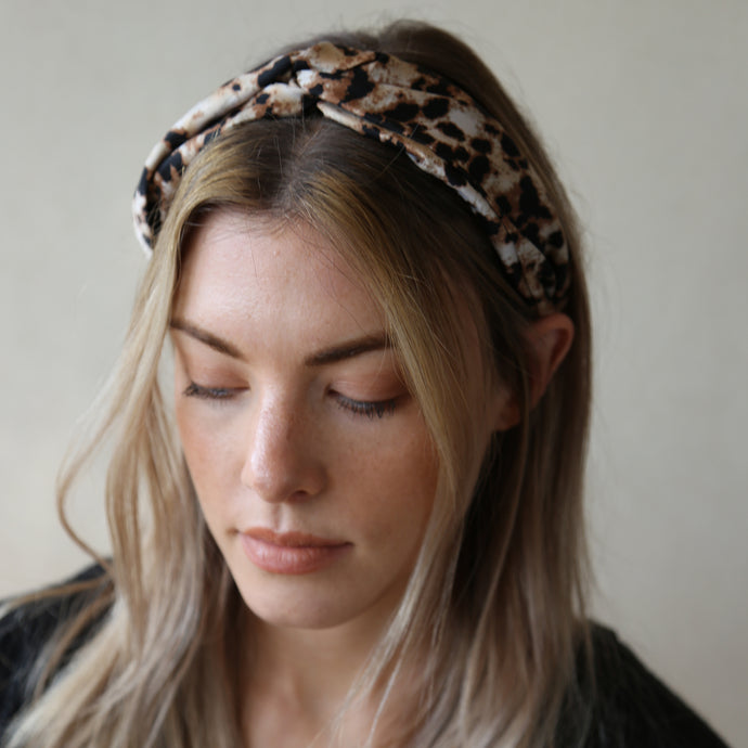 Neutral and Black Leopard Print Jasper Twist Headband