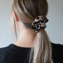 Load image into Gallery viewer, Neutral and Black Leopard Jasper Print Scrunchie