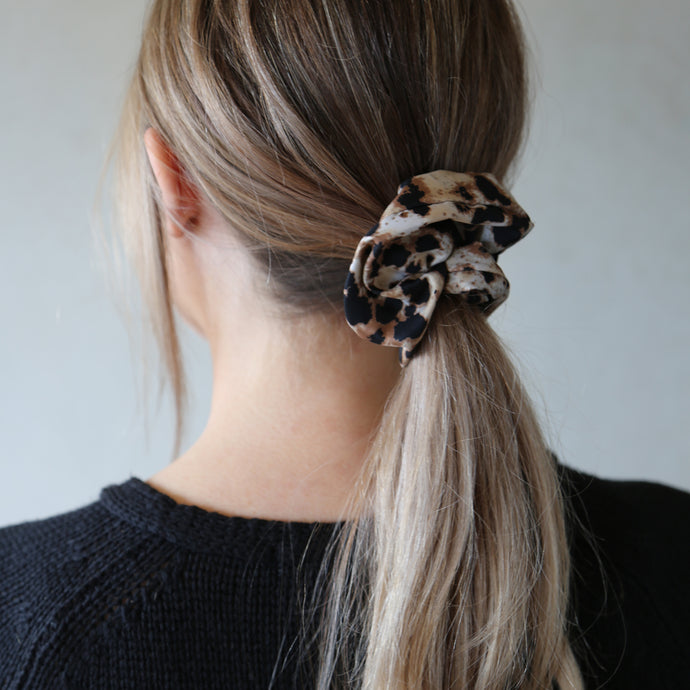 Neutral and Black Leopard Jasper Print Scrunchie