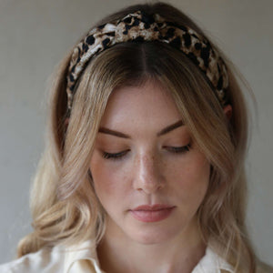 Neutral and Black Leopard Print Jasper Headband