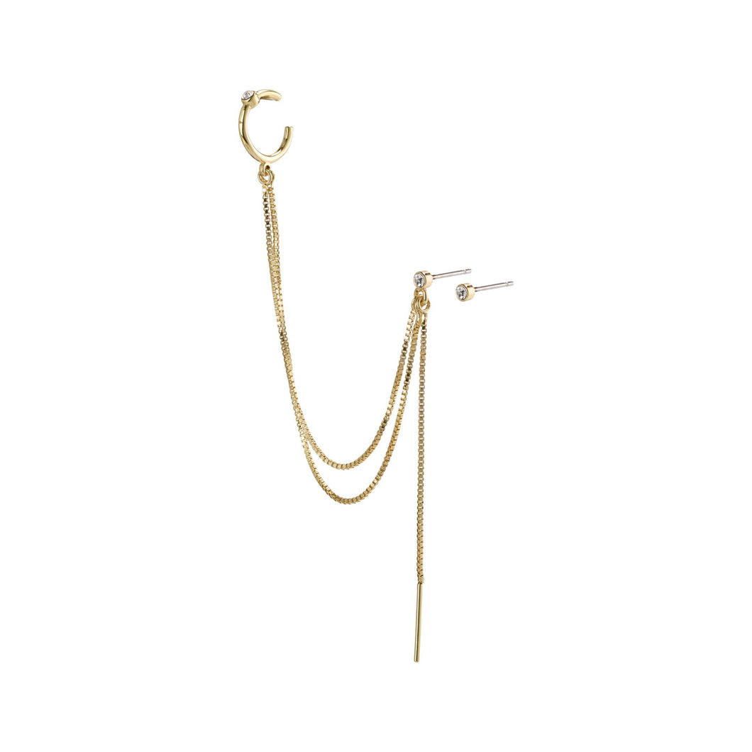 Nima Gold Plated Chain Ear Cuff Stud Earrings