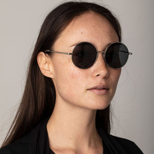 Polly Retro Sunglasses with Gold Plated Frame and Round Green Lenses