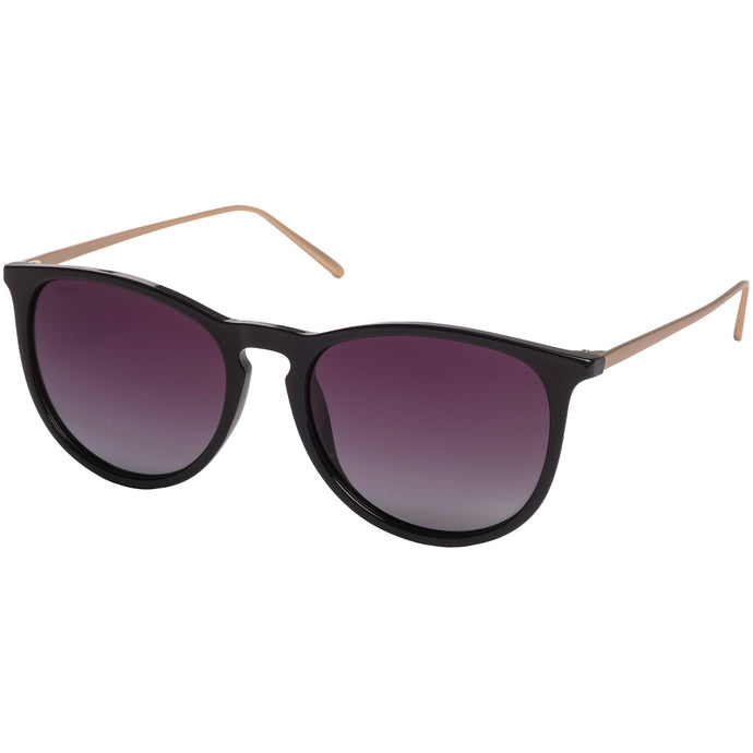 Vanille Black Glossy Frame Sunglasses with Metal Temples