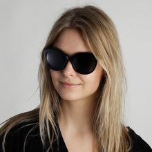 Load image into Gallery viewer, Tulia Cat-Eye Sunglasses in Black Glossy Frame with Smokey Lense