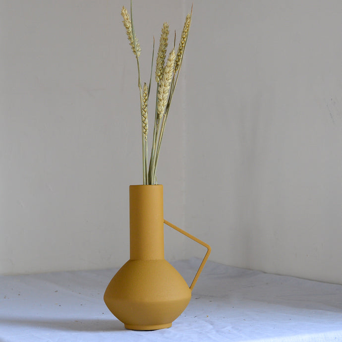 Yellow Metal Vase with Handle