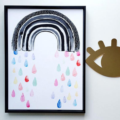 Wonder and Rah Watercolour Rainbow Rain Print (Choice of three sizes)