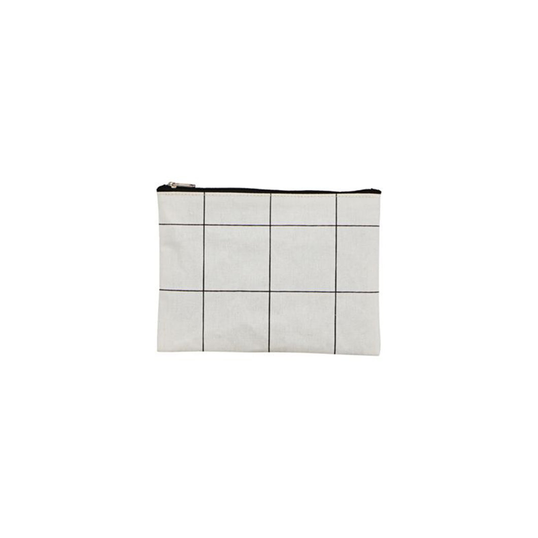 Small White Squares Grid Makeup bag