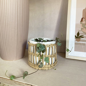 Speckled White and Woven Planter Sass and Belle