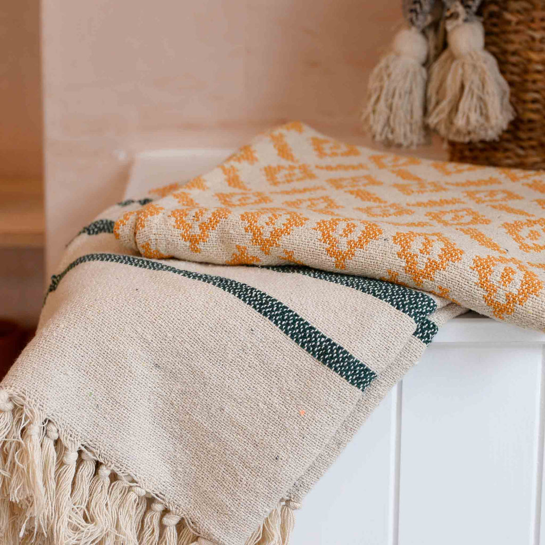 bloomingville-recycled-throw-yellow