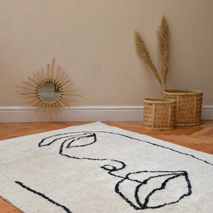 Visage Shaggy Rug in Natural and Black Organic Cotton 140x200
