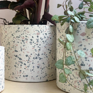 sass and belle Mon Pote white terrazzo cement planter pot