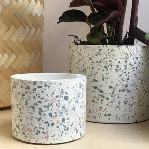 sass and belle terrazzo planters small white