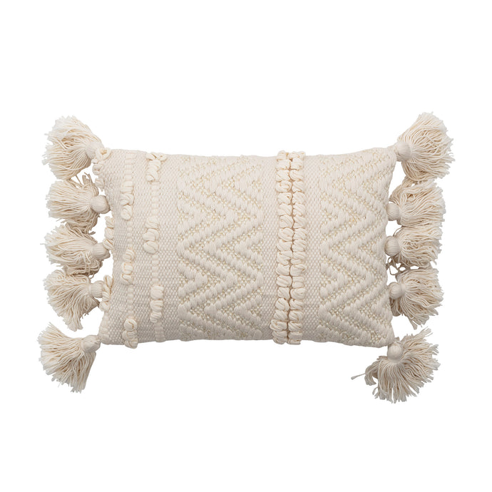 Tassel Woven Cushion in Cream 35x20