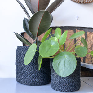 Jute Planter in Black Choice of Three Sizes
