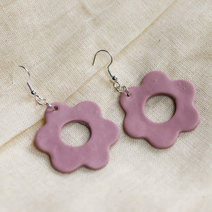 Pink Flower Dangle Clay Earrings
