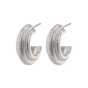 Macie Silver Plated Patterned Hoop Earrings