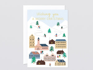 Wrap Merry Christmas Ski Village Single Card