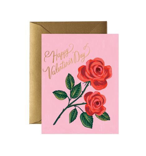 Rifle Paper Co. Card Pink Roses Happy Valentines Day