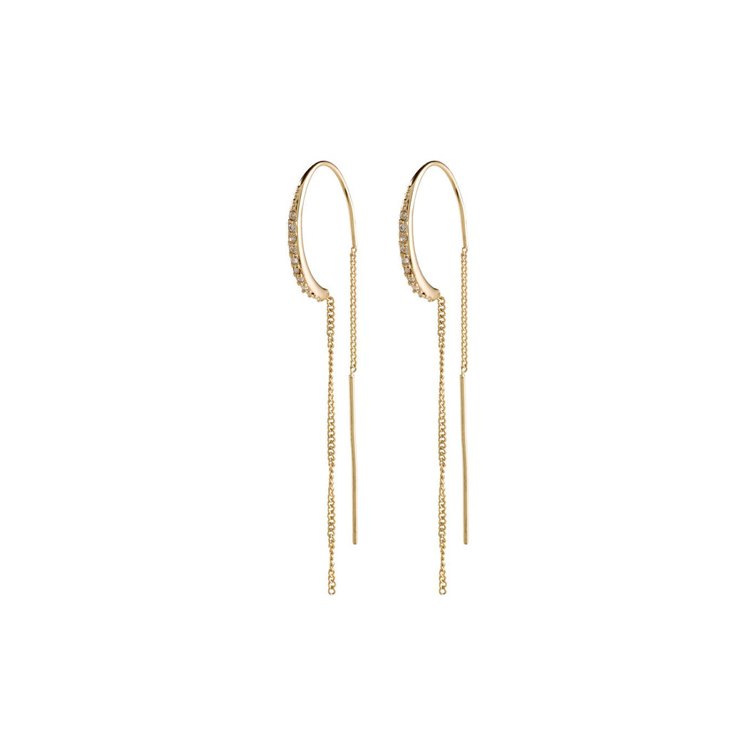 Pilgrim Gold Plated Crystal Hoop Chain Earrings