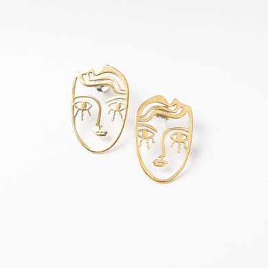 Lima Lima Brass Face Earrings (Small)