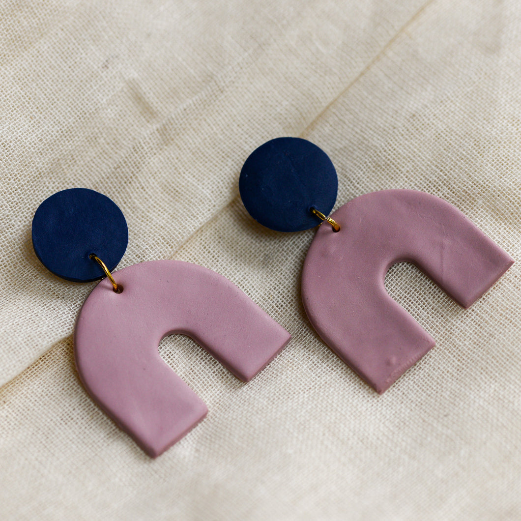 Blue Stud and Pink Arch Drop Clay Earrings