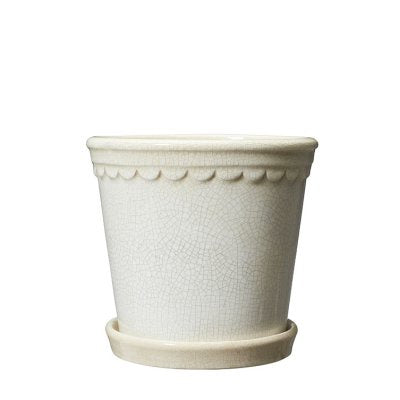 Valeria White Melange Pot and Plate in Small or Large
