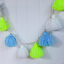 Load image into Gallery viewer, Meri Meri Neon Yellow and Blue Wool Tassel Garland