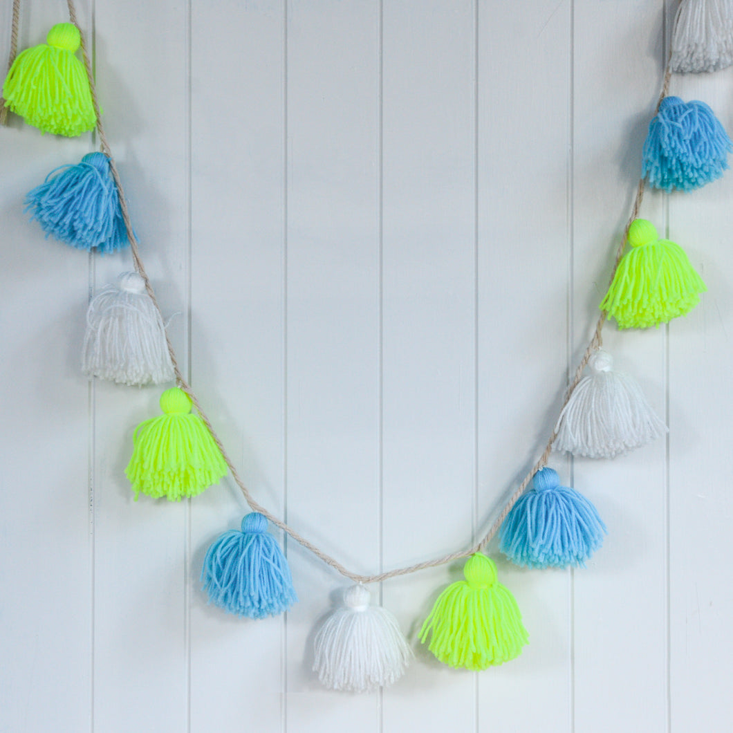 Meri Meri Neon Yellow and Blue Wool Tassel Garland