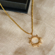 Load image into Gallery viewer, crystal sun necklace gold lunar