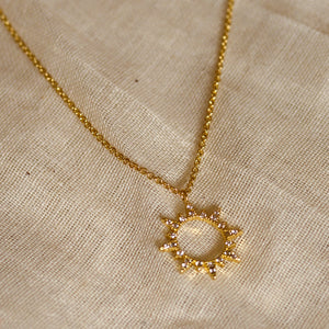 crystal sun necklace gold lunar