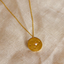Load image into Gallery viewer, opal star disc necklace gold lunar