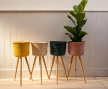Load image into Gallery viewer, Handed By Up High Recycled Plastic Plant Stand Blue Green