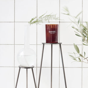 meraki nordic pine candle large soy burgandy glass styled white wall tile bathroom plants
