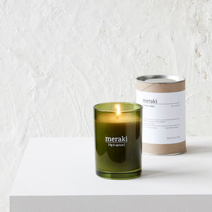 fig and apricot meraki green glas soy fragrance large candle brown tube packaging photo