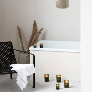 meraki green candle fig and apricot group styled shot bathroom