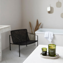 Load image into Gallery viewer, large meraki green herbal candle soy fragrance bathroom styled shot