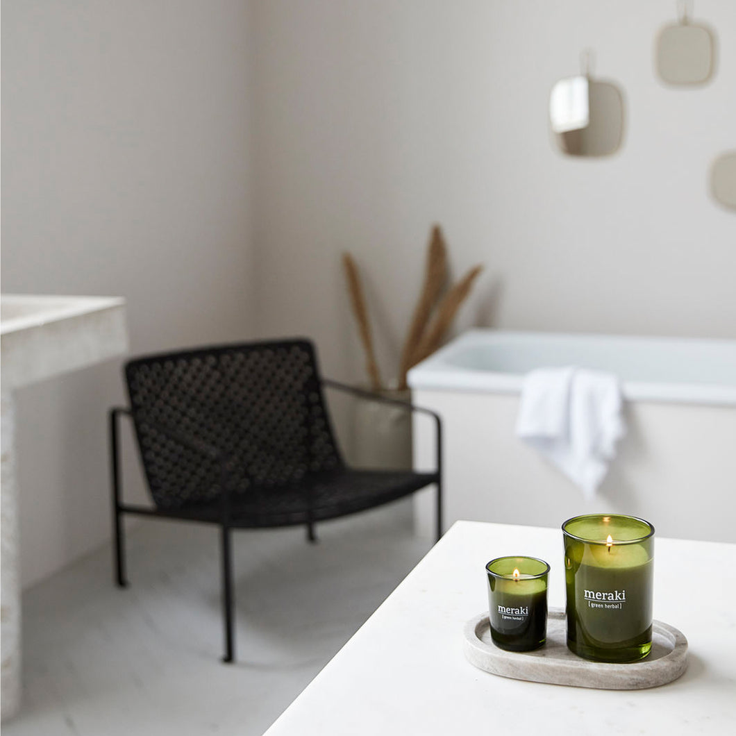 large meraki green herbal candle soy fragrance bathroom styled shot