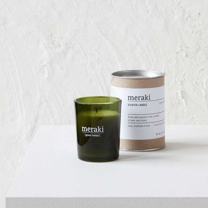 meraki green herbal candle small gree glass soy fragrance candle