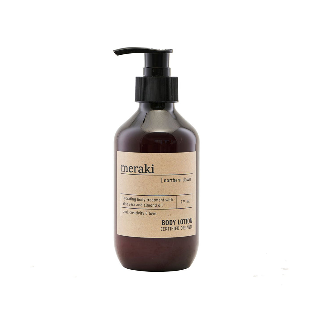 meraki body lotion 275ml brown pump bottle certified organic northern dawn body lotion aloe vera almond oil fresh orange cedarwood