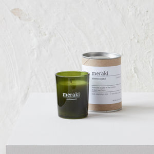earthbound green candle small glass packaging photo