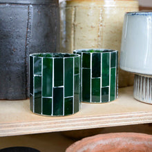 Load image into Gallery viewer, Amroha Tealight holder in Dark Green Mosaic
