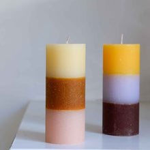 Load image into Gallery viewer, Rainbow Pillar Candle in Tequila Sunrise Two Size Options